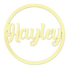 Personalised Name Hoop 3mm Gold MDF Wood Circle Home Nursery Wall Sign Plaque